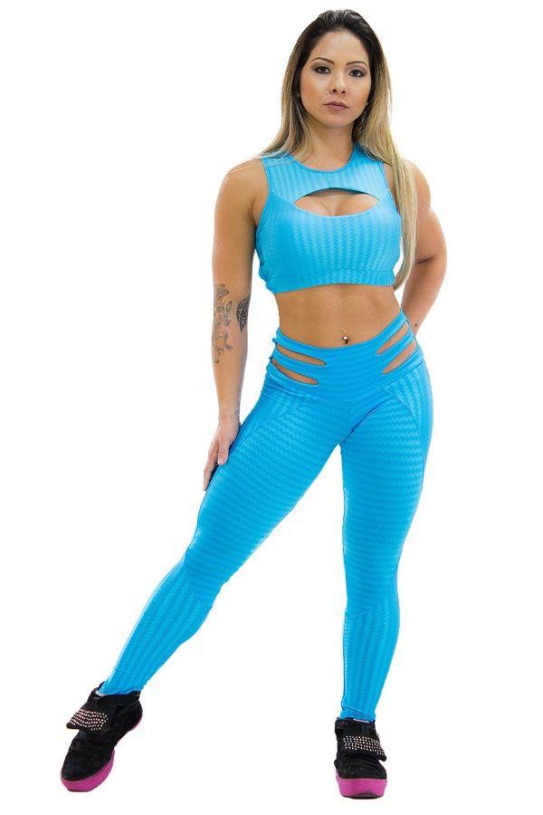 Calça Legging Elipse Azul em Cirrê