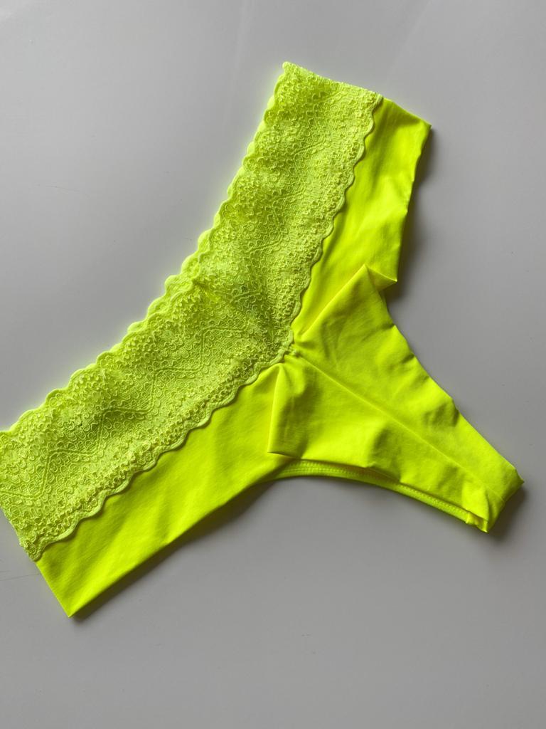 Calçinha Fio Duplo Cós Renda Verde Neon