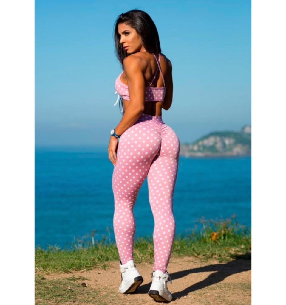 Conjunto Fitness Rosa com Poá Branco