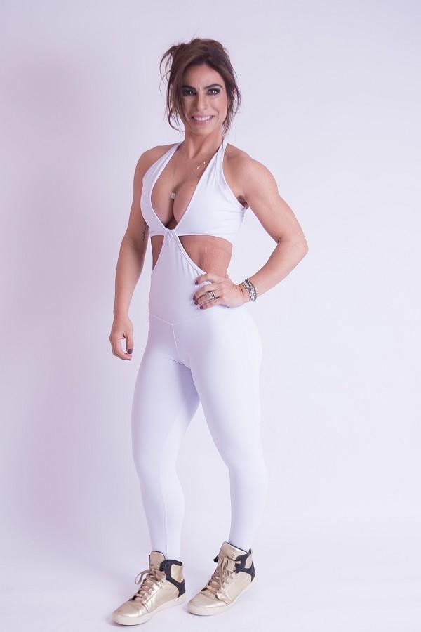 Macacão Fitness Branco Erika Alk