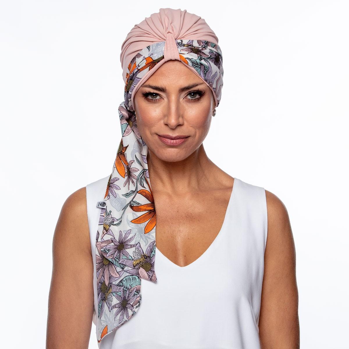 Conjunto Faixa Lille 10X140  Estampa Isis  + Turbante Argola Petit Rosê