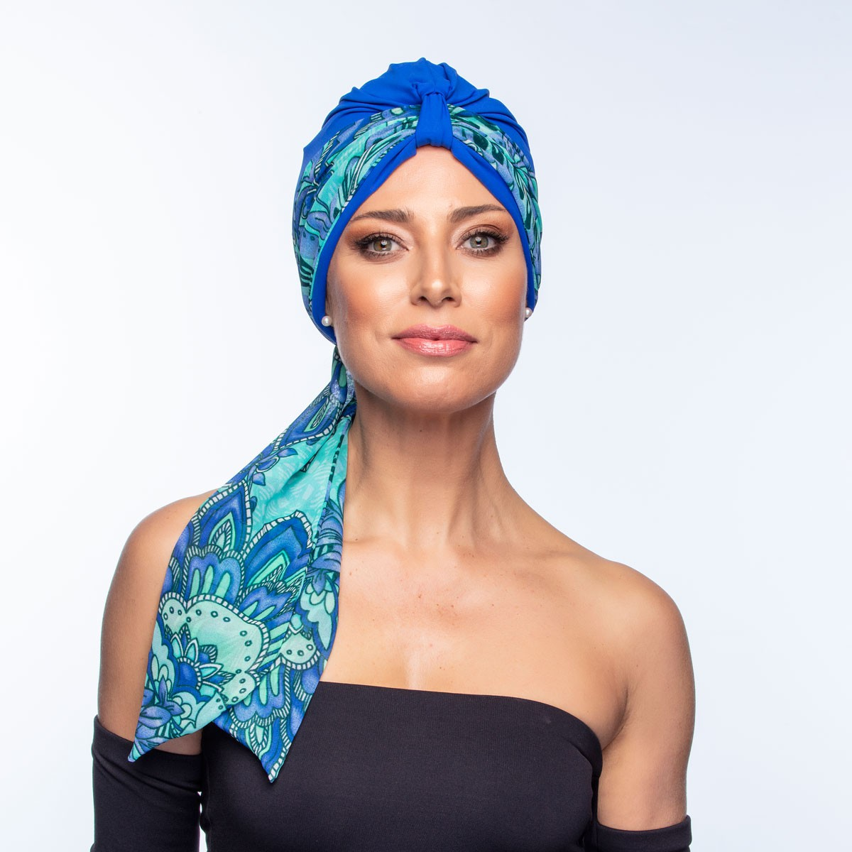 Conjunto Faixa Lille 10X140 Estampa Julianne + Turbante Argola Azul Royal