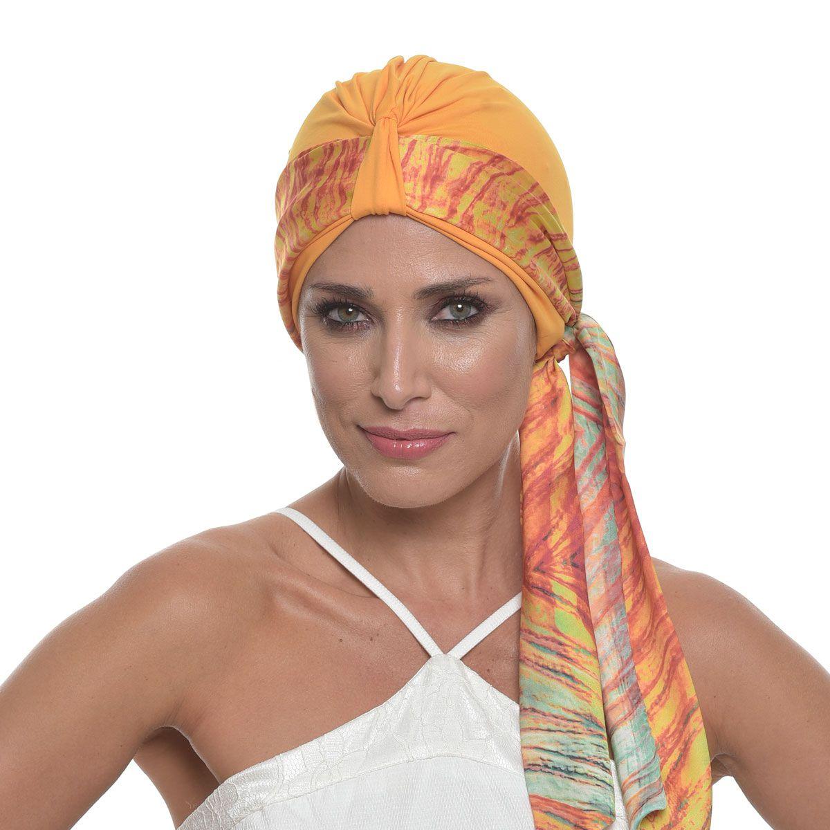 Faixa Lille 10X140  Estampa Nathalia  + Turbante Argola Amarelo