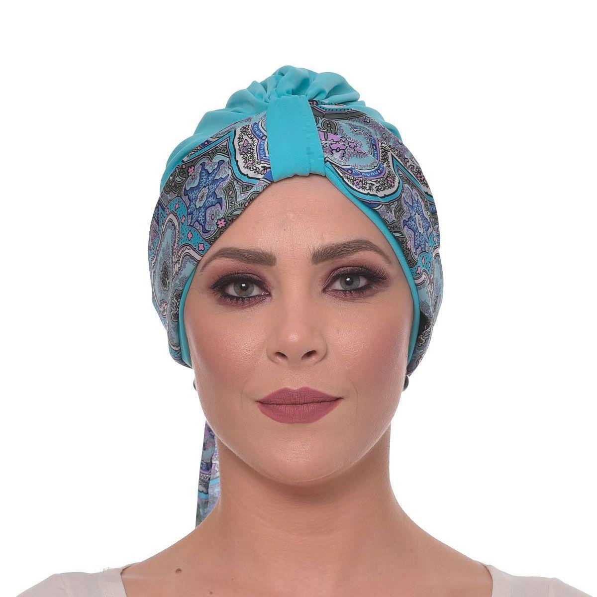 Echarpe 40X180 Cetim de Seda Mandala Azul