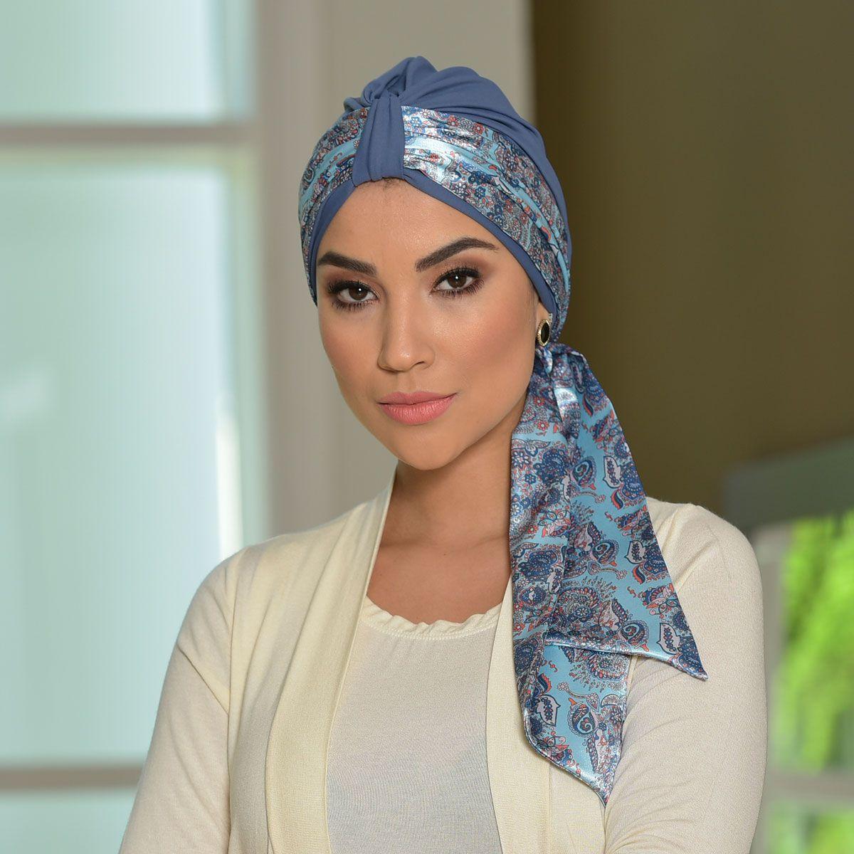 Conjunto Lenço de Ponta Dupla Face 10X140 Ayla + Turbante Argola Azul Jeans