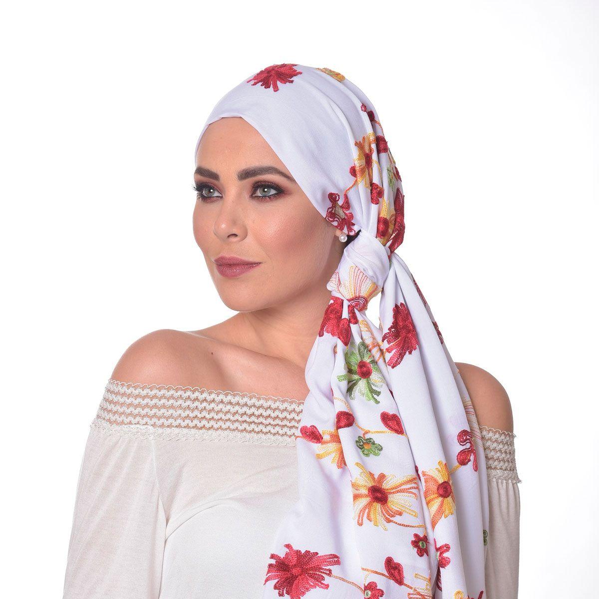 Lenço Quadrado 70X160 em 100% Viscose Branco com Bordado Floral Premium