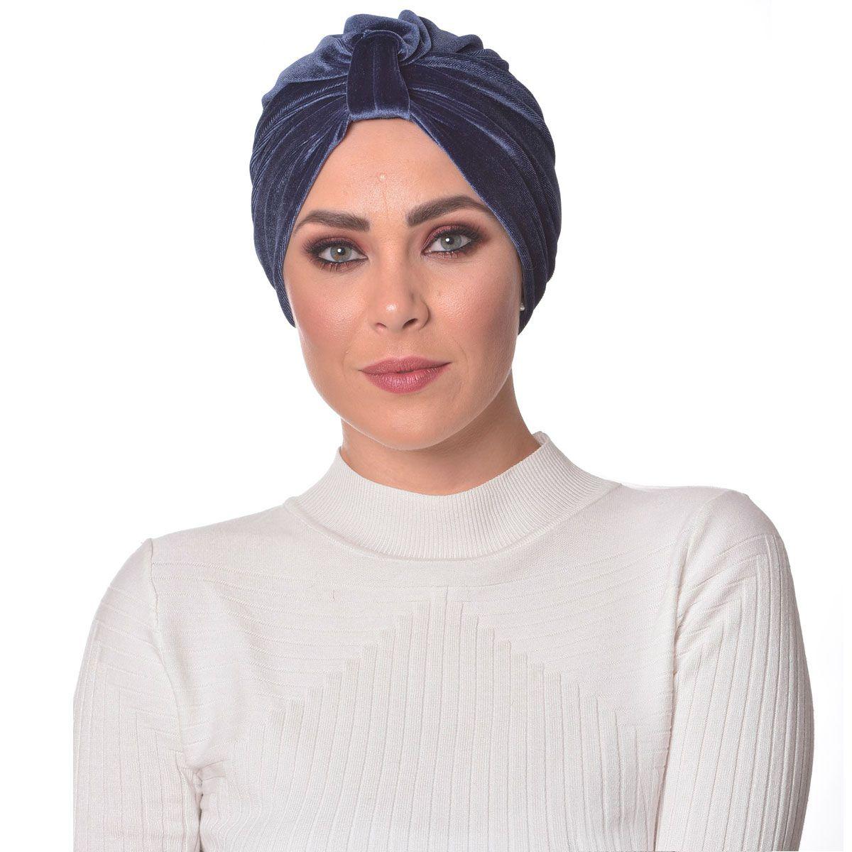 Turbante Feminino Argola em Veludo Azul
