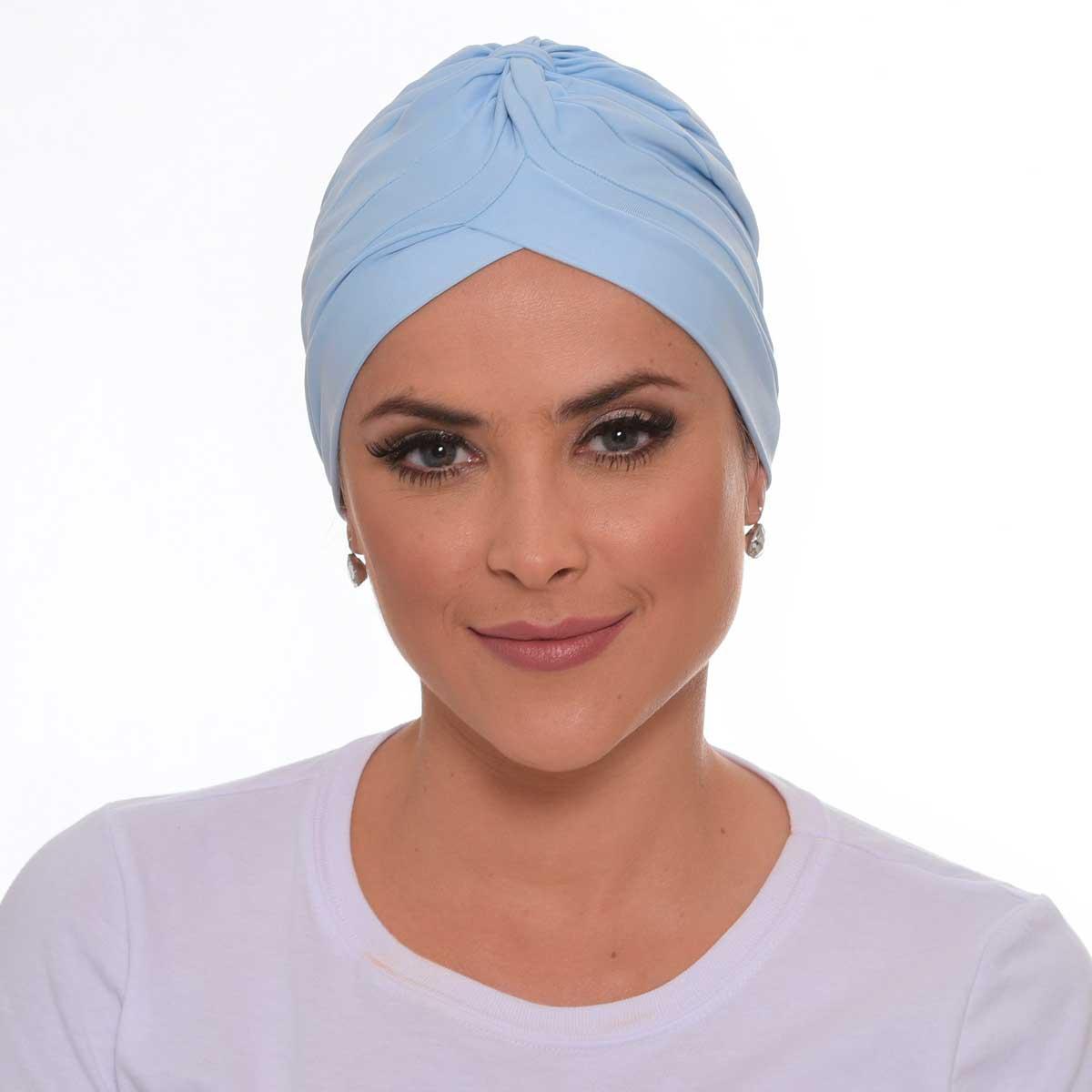 Turbante Fechado Drapeado Azul Baby
