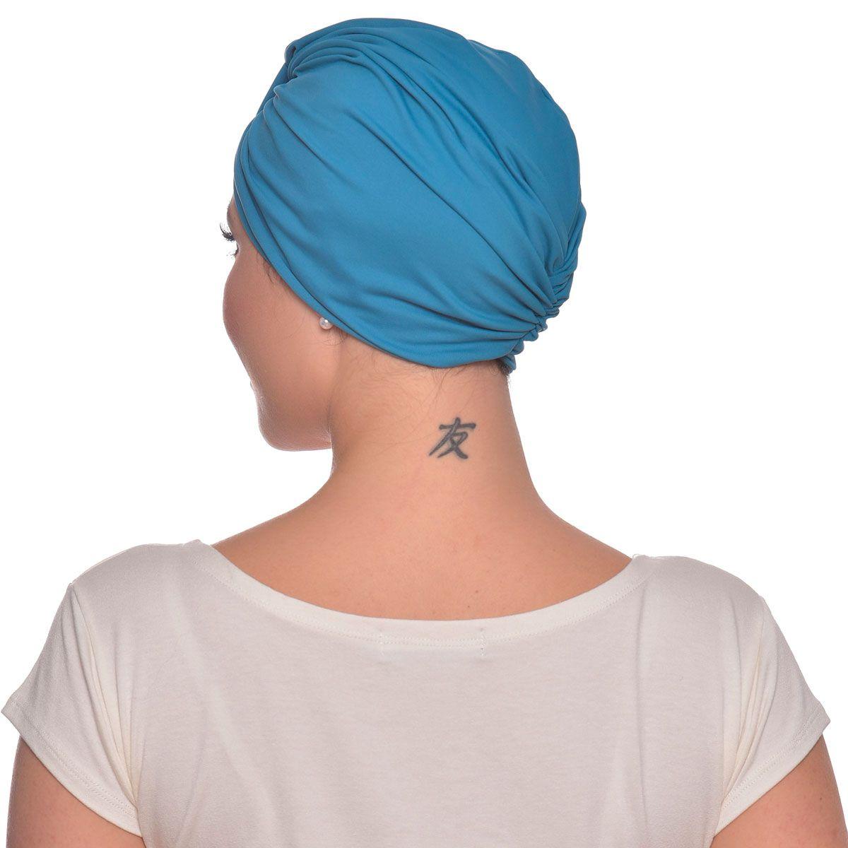 Turbante Fechado Argola Azul Mediterrâneo