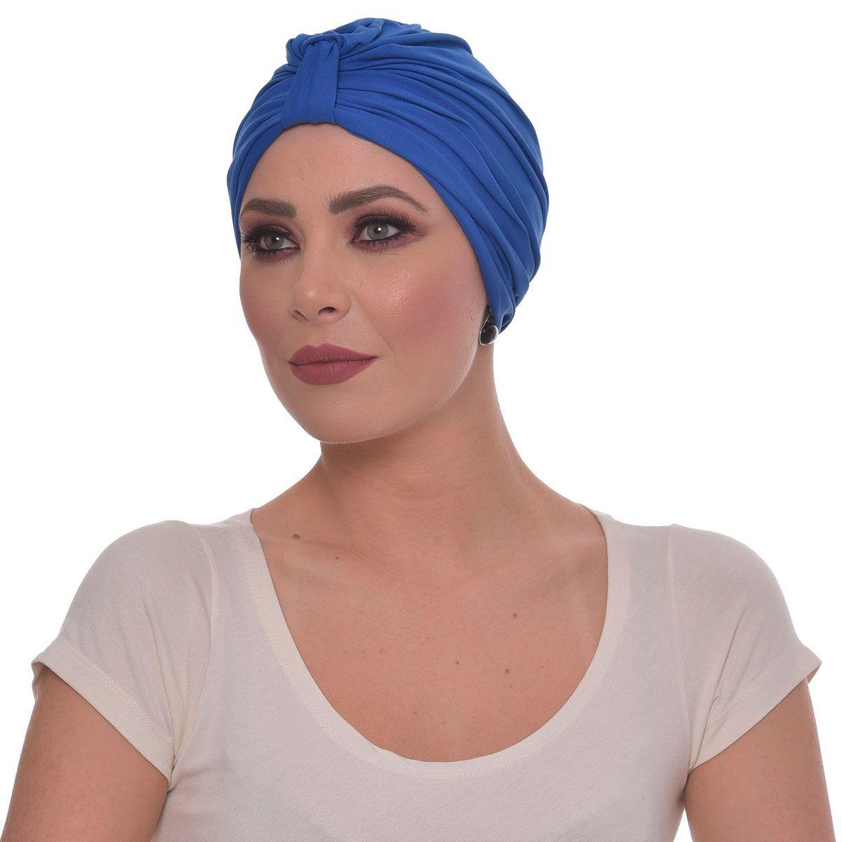Turbante Fechado Argola Azul Royal