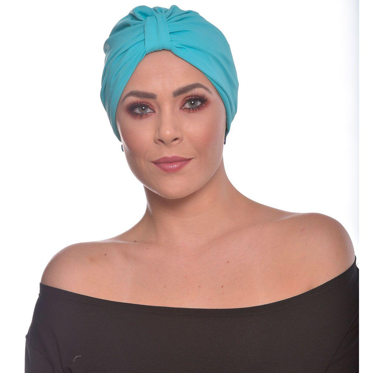 Turbante Fechado Argola Azul Turquesa