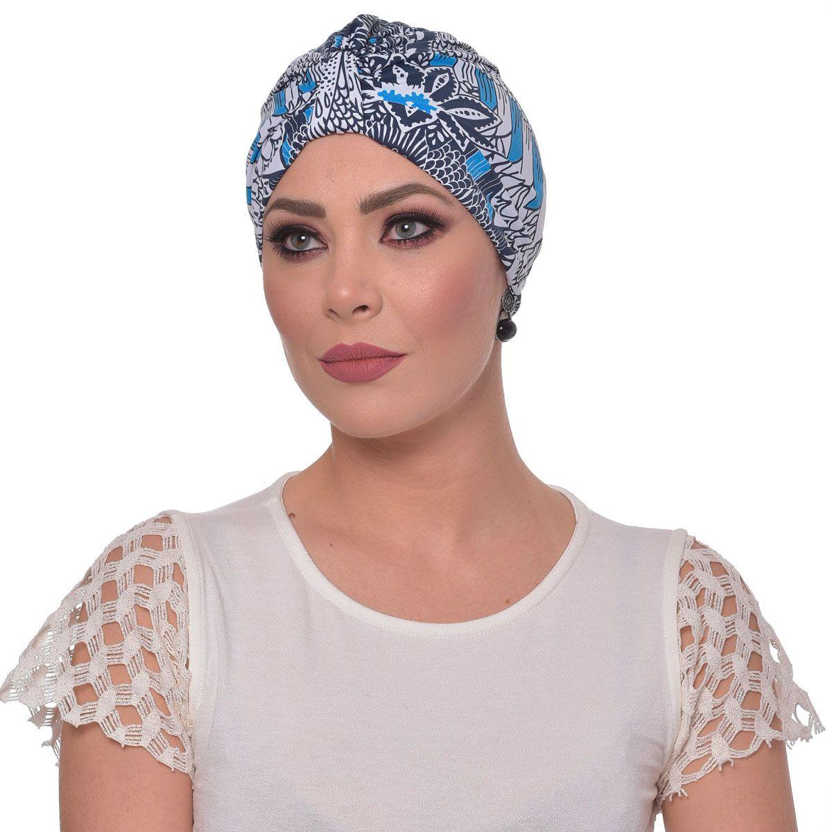 Turbante Fechado Argola Floral Tons de Azuis