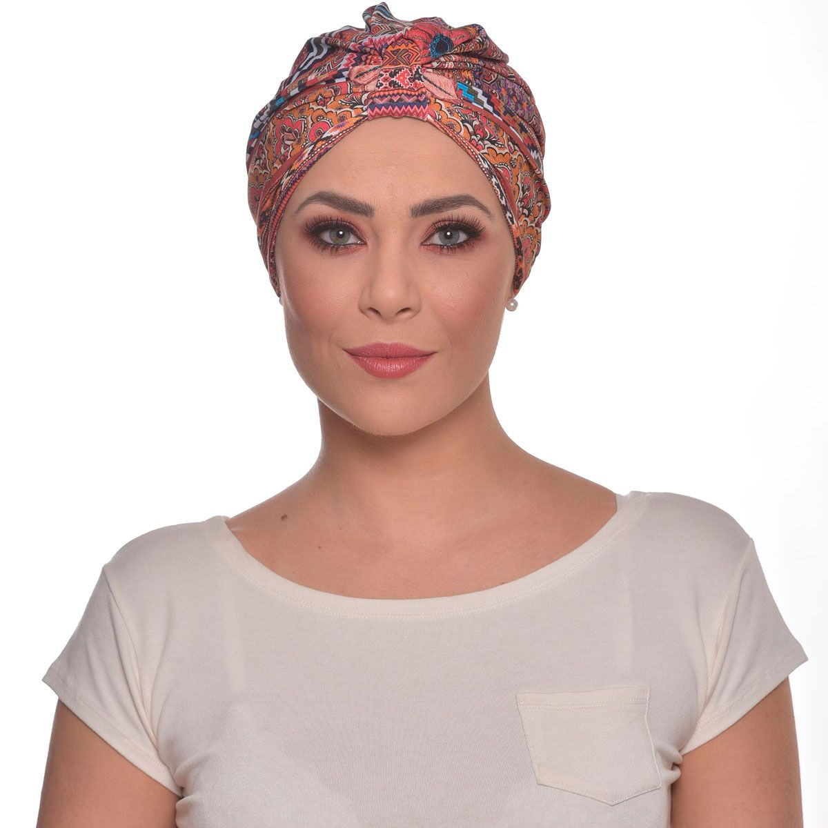 Turbante Fechado Argola Estampa Indiana