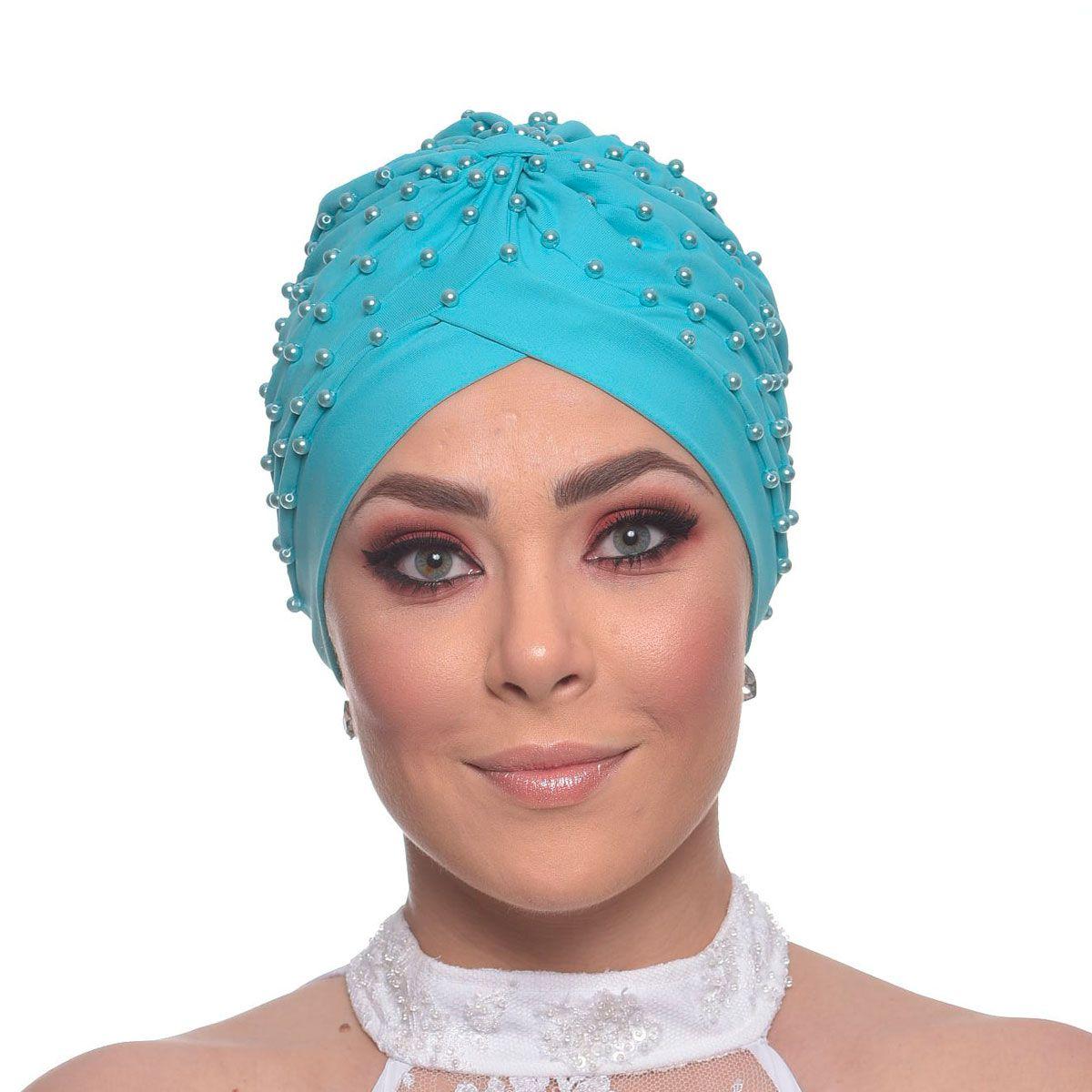 Turbante Fechado Drapeado Azul Turquesa Bordado em Perolas