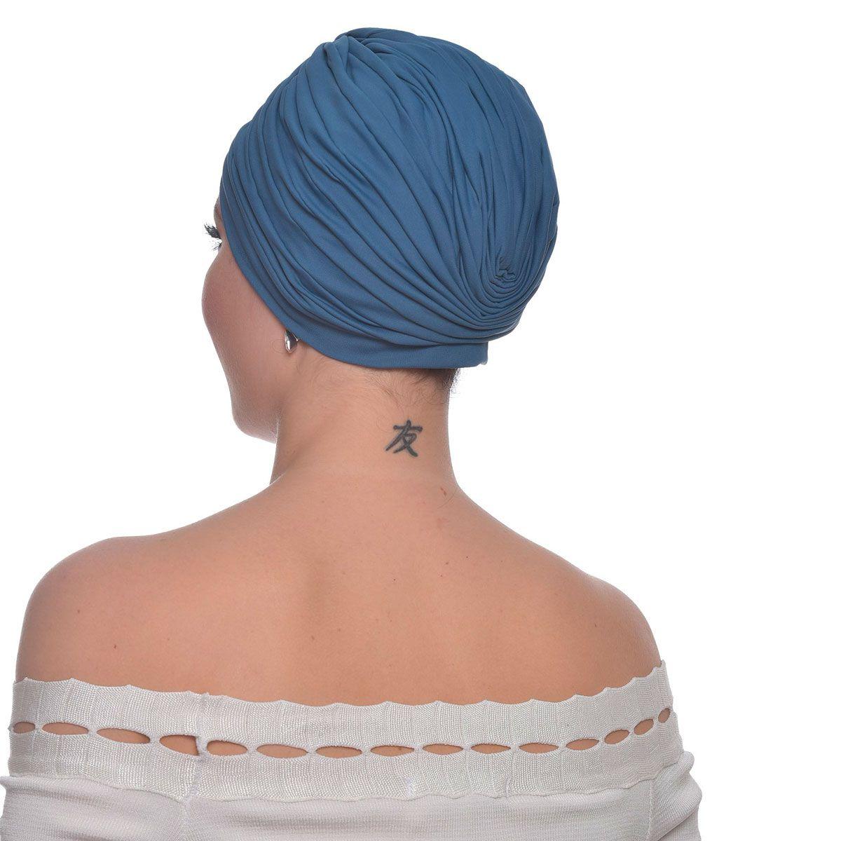 Turbante Fechado Drapeado Azul Jeans
