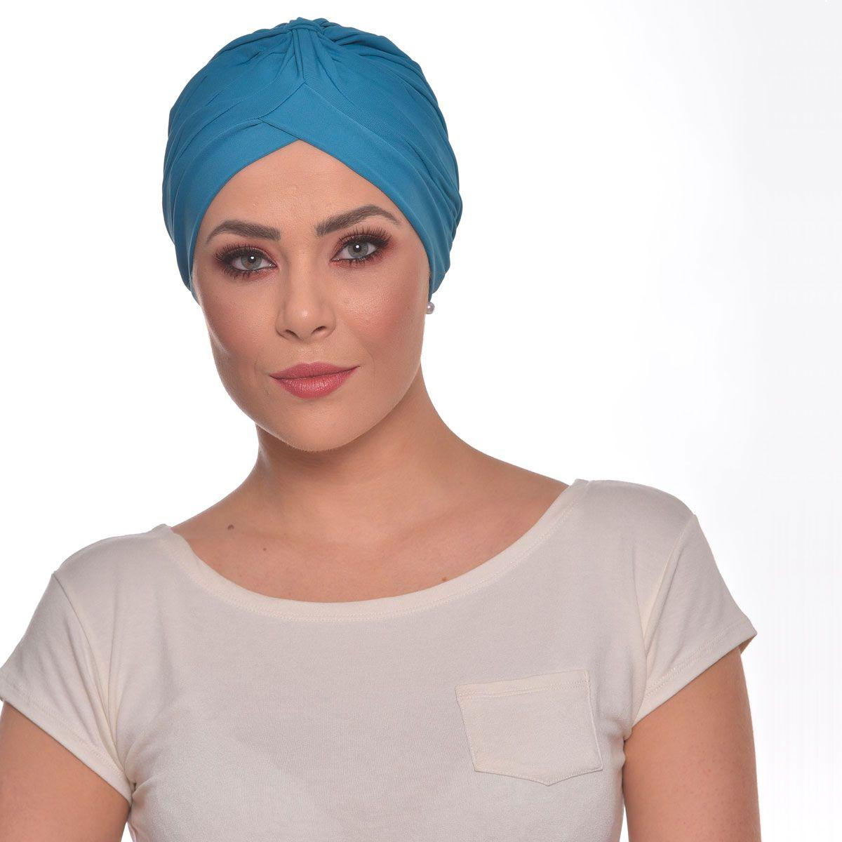 Turbante Fechado Drapeado Azul Mediterrâneo
