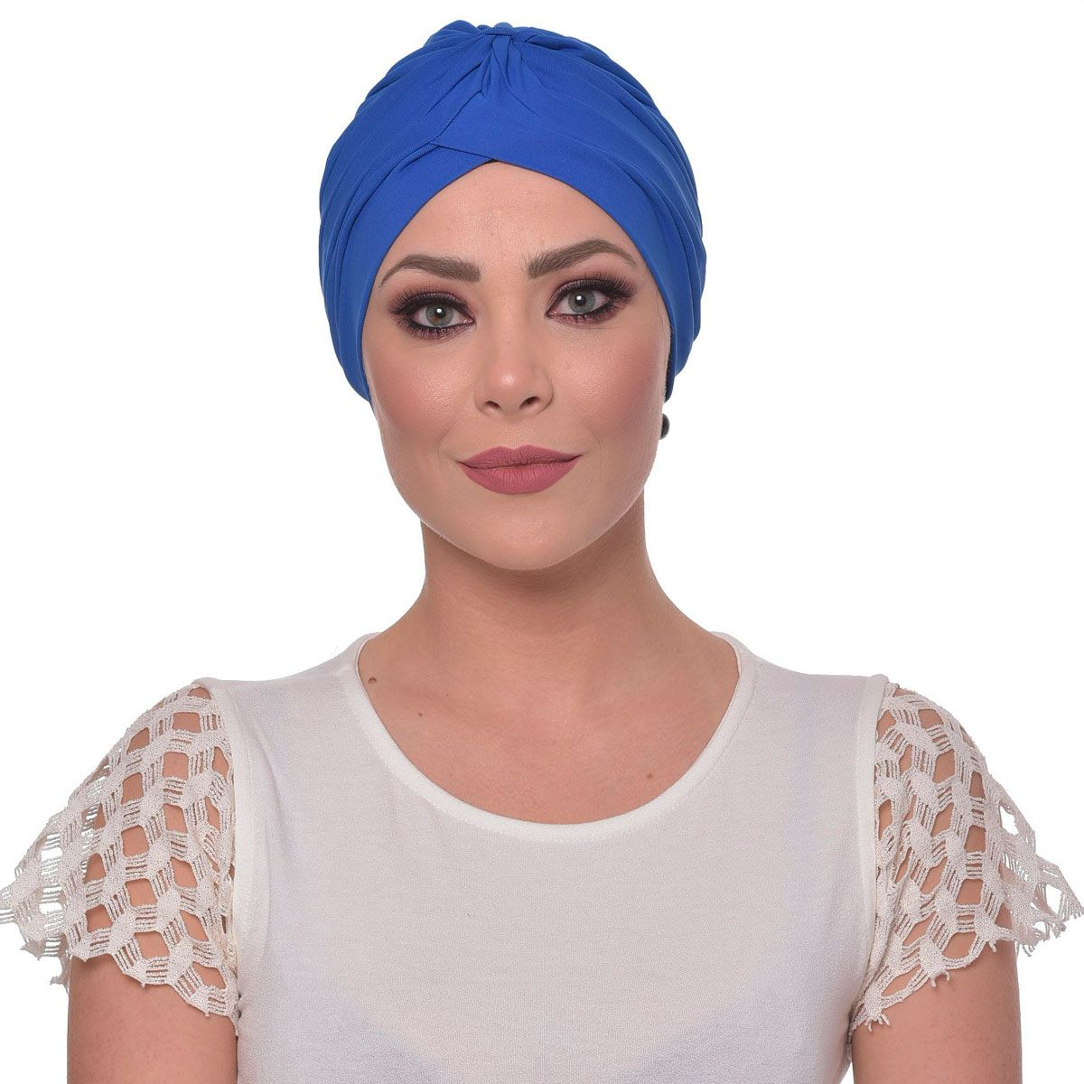 Turbante Fechado Drapeado Azul Royal