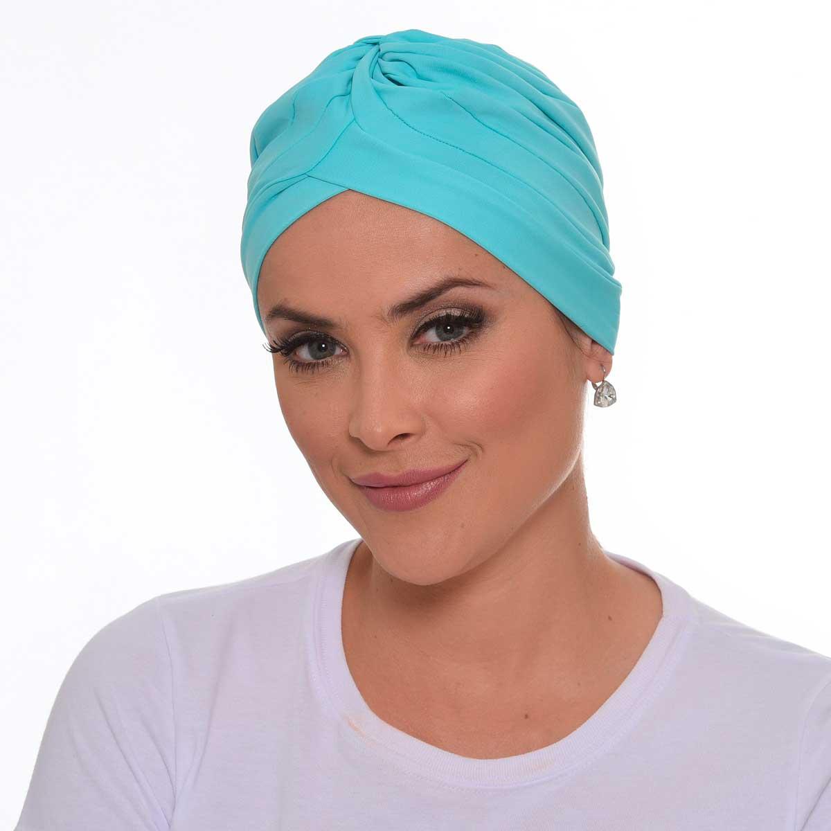 Turbante Fechado Drapeado Azul Turquesa