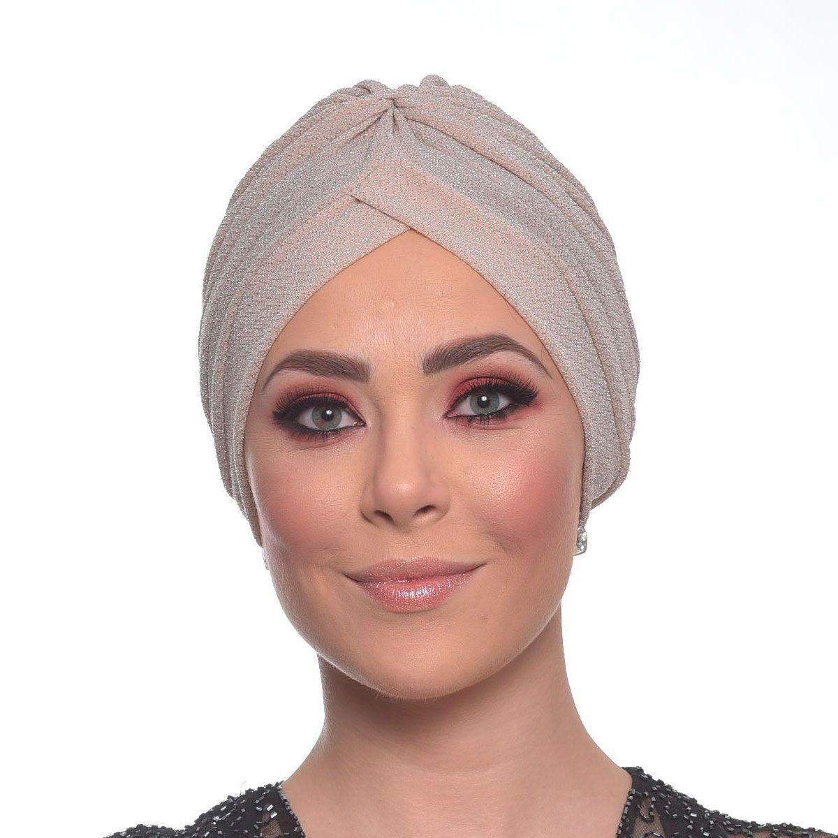 Turbante Fechado Drapeado em Lurex Rose Fios Prata