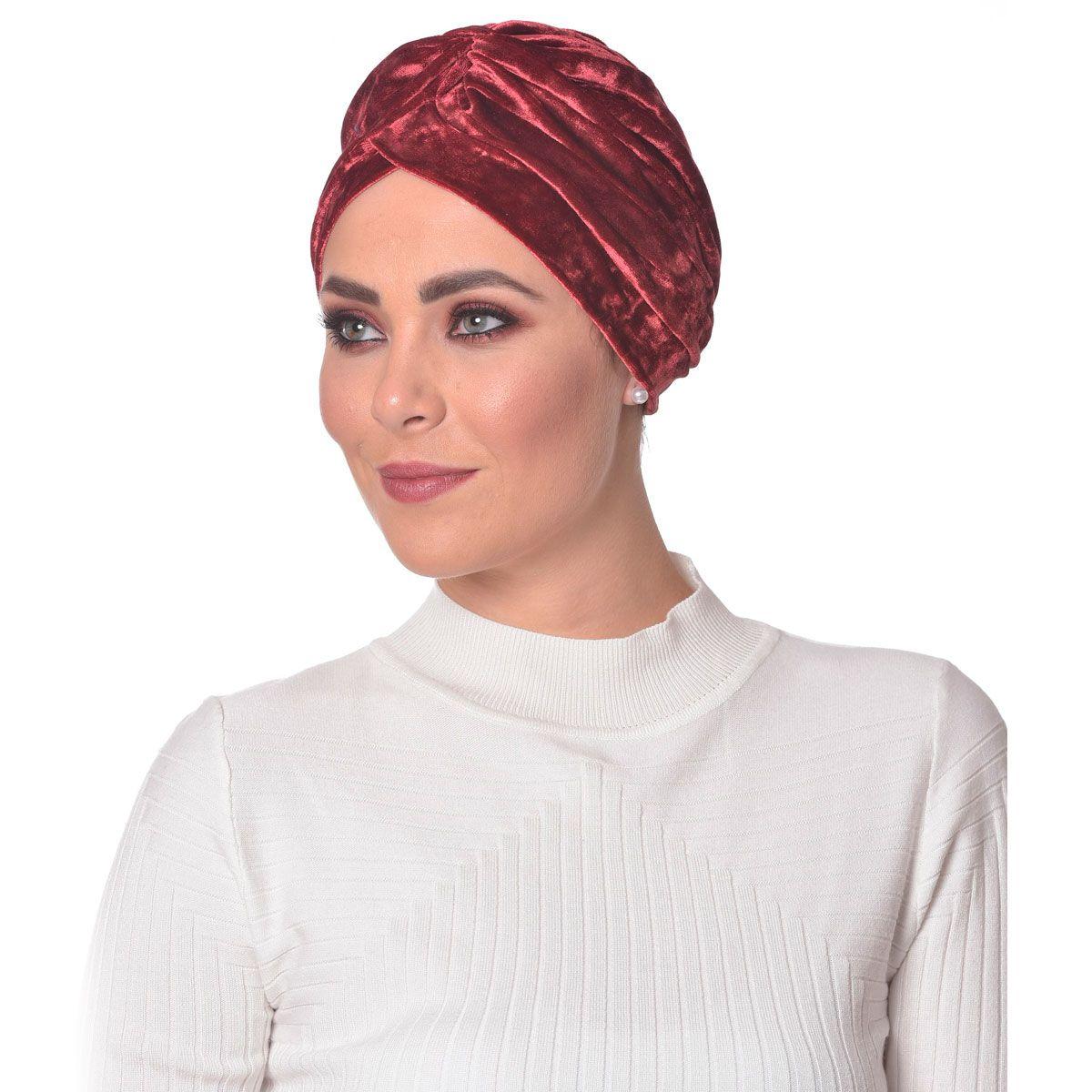 Turbante Fechado Drapeado Vermelho em Veludo
