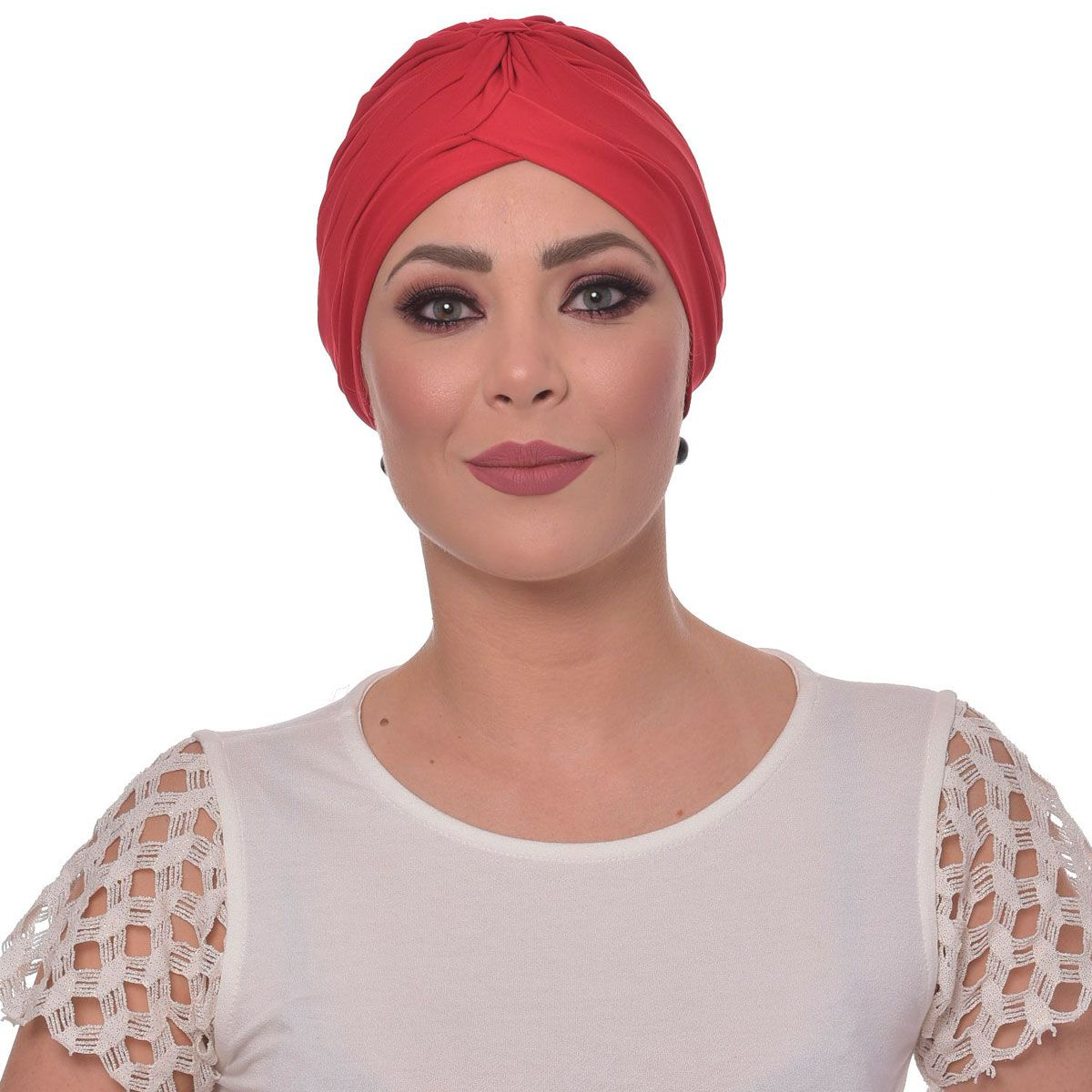 Turbante Fechado Drapeado Vermelho Rainha
