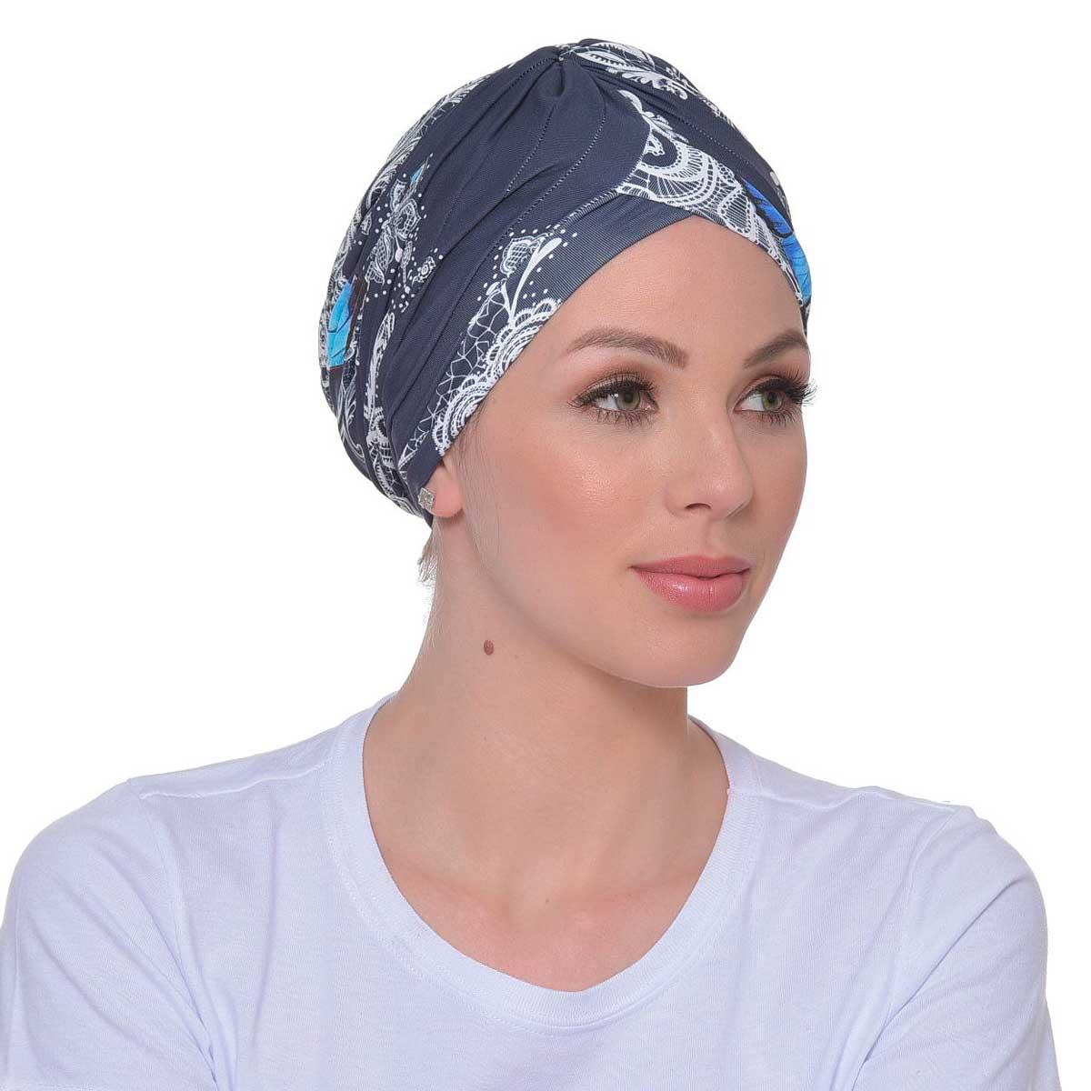Turbante Feminino Drapeado Estampa Borboleta