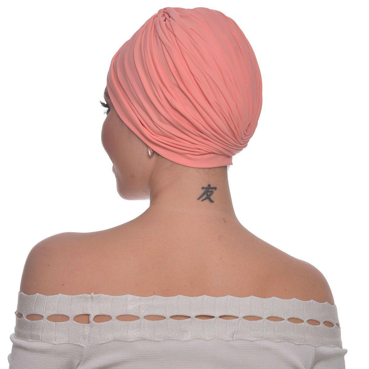 Turbante Feminino Drapeado Pêssego