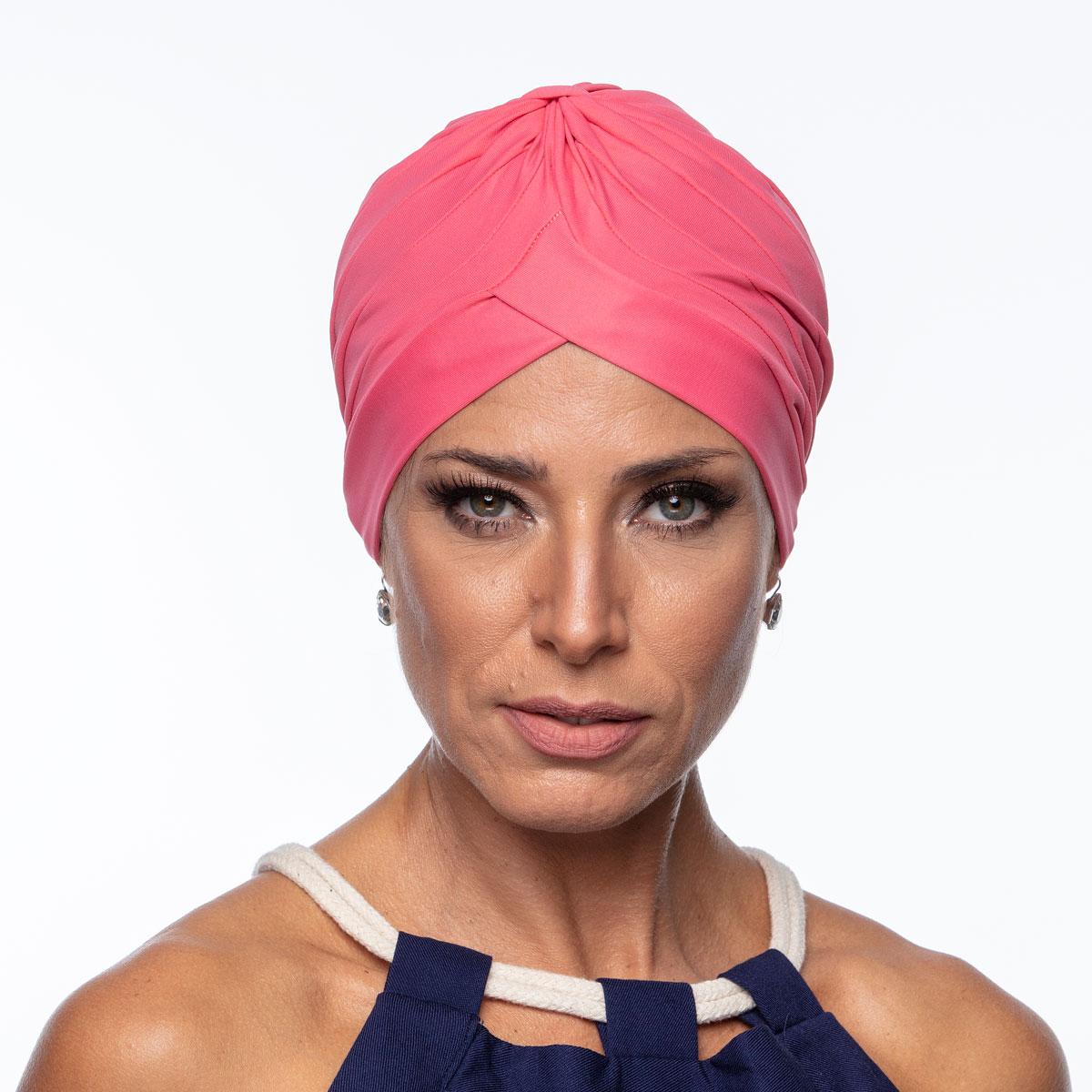 Turbante Feminino Drapeado Rosa Carmim