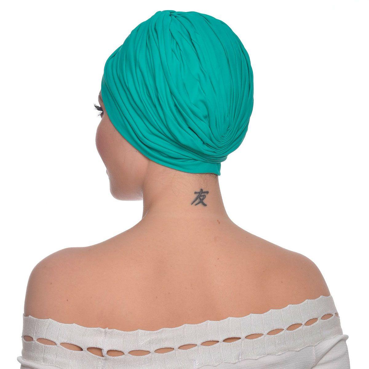 Turbante Feminino Drapeado Verde Esmeralda