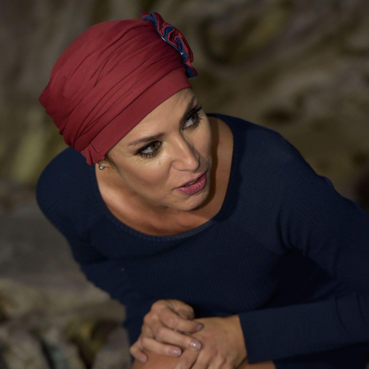 Turbante Feminino Fiore Cor Vinho com Marinho