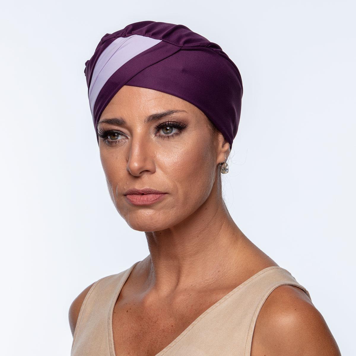 Turbante Feminino Gabi Berinjela com Lilás