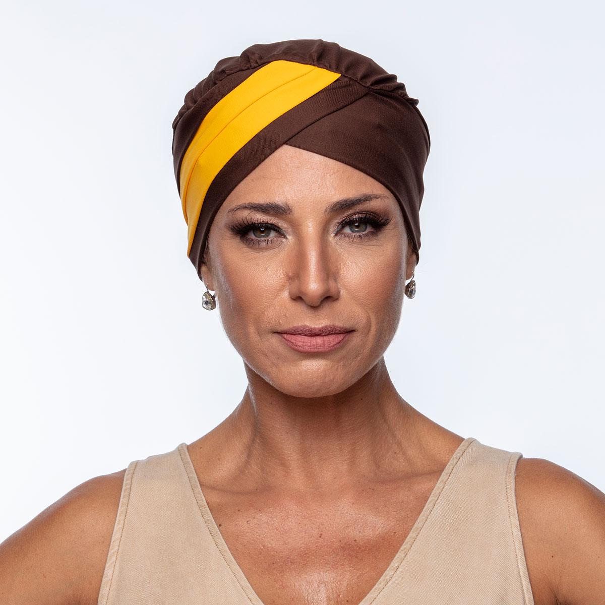 Turbante Feminino Gabi Café com Amarelo