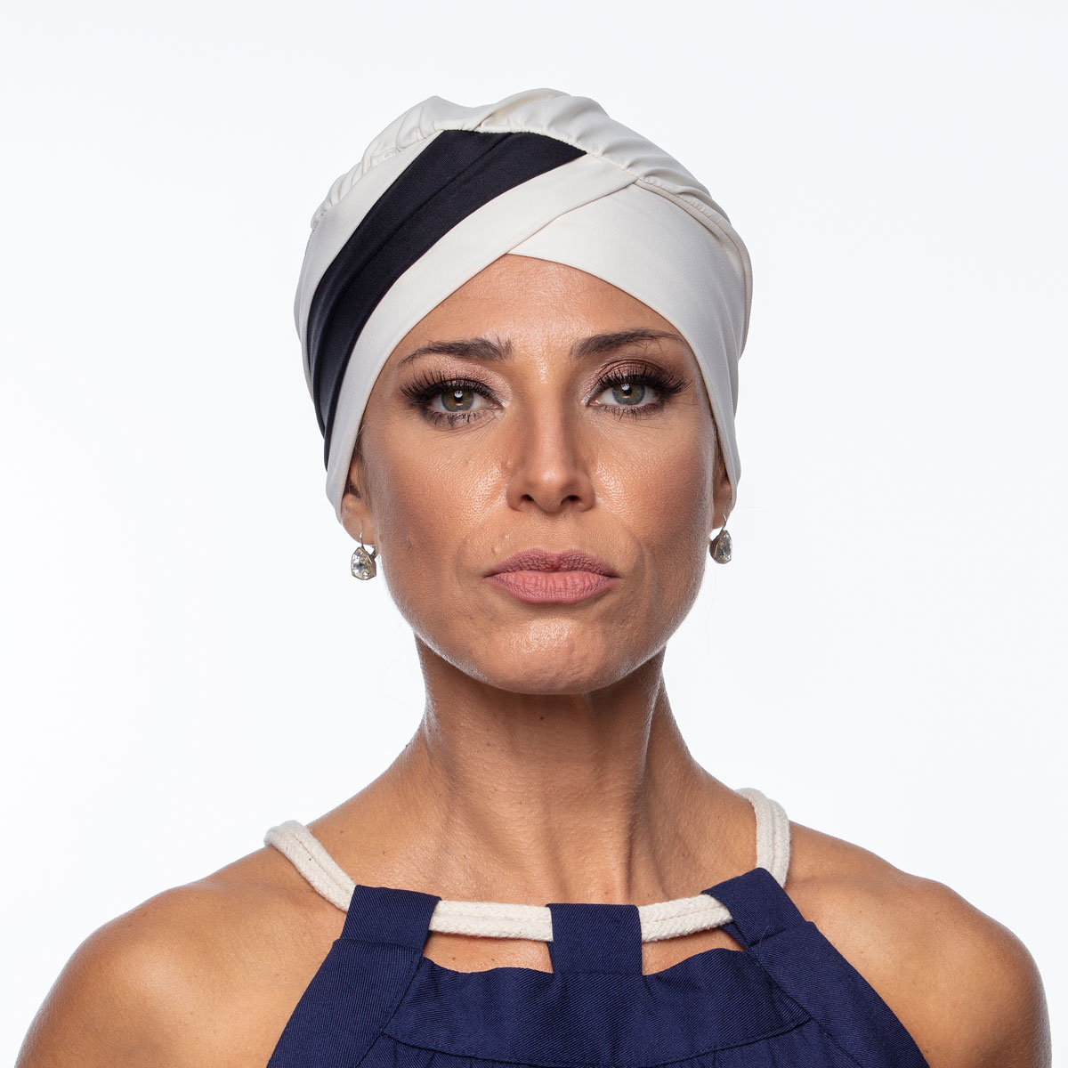 Turbante Feminino Gabi Off White e Preto