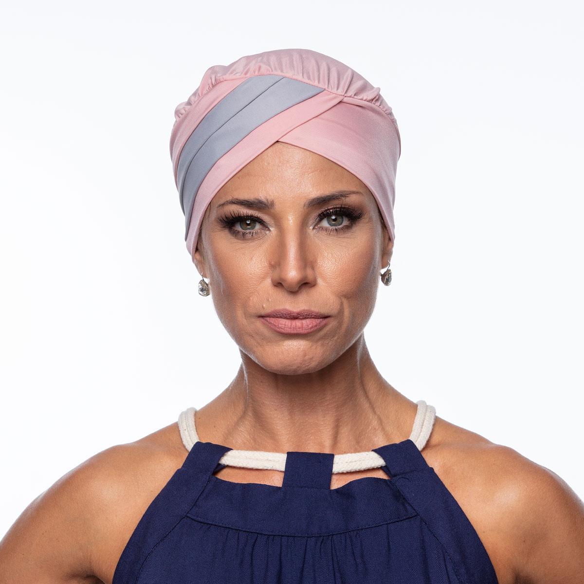 Turbante Feminino Gabi Rosa com Cinza Claro