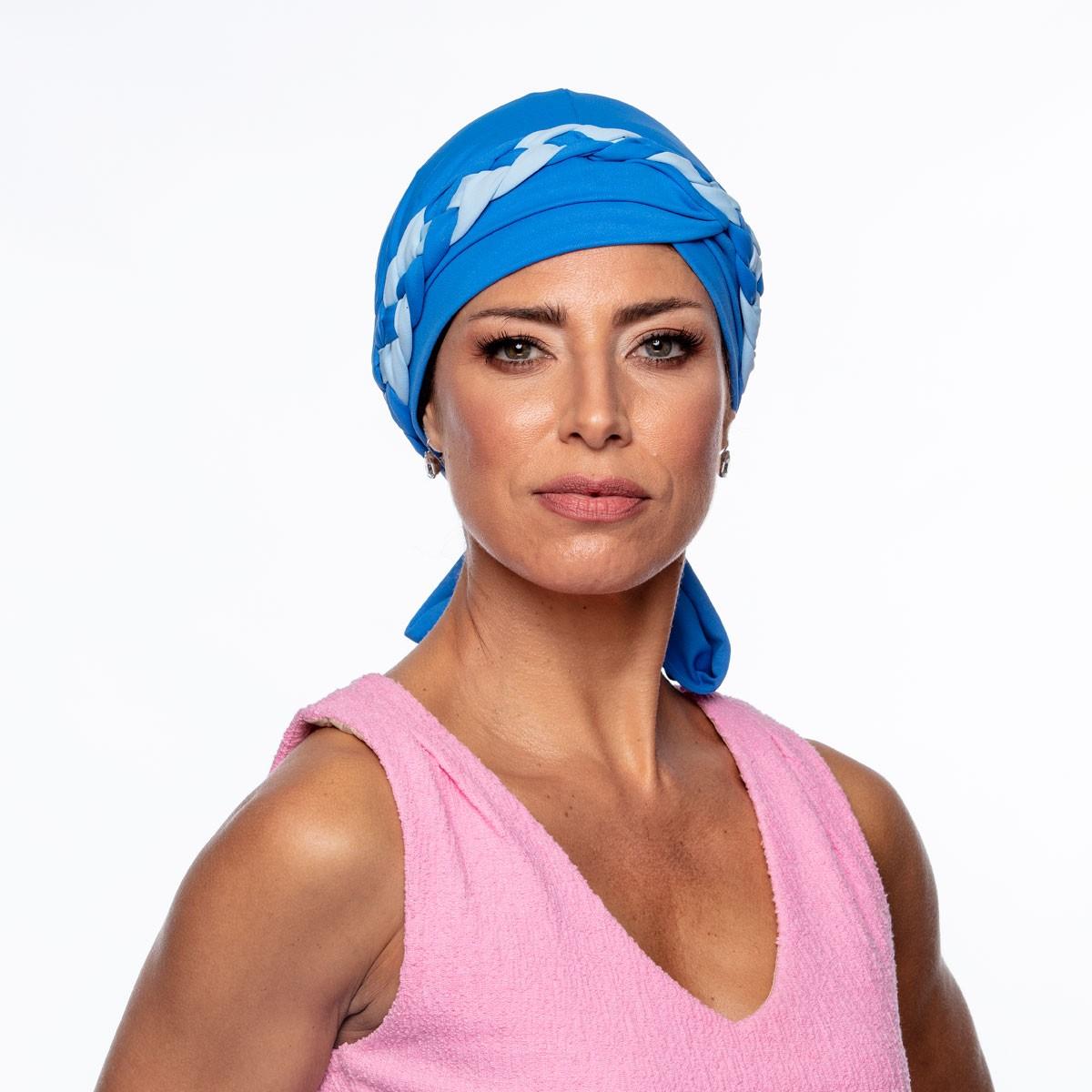 Turbante Feminino Trançado Giovanna Azul Mediterrâneo