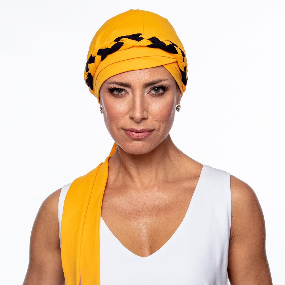Turbante Feminino Trançado Giovanna Amarelo com Preto