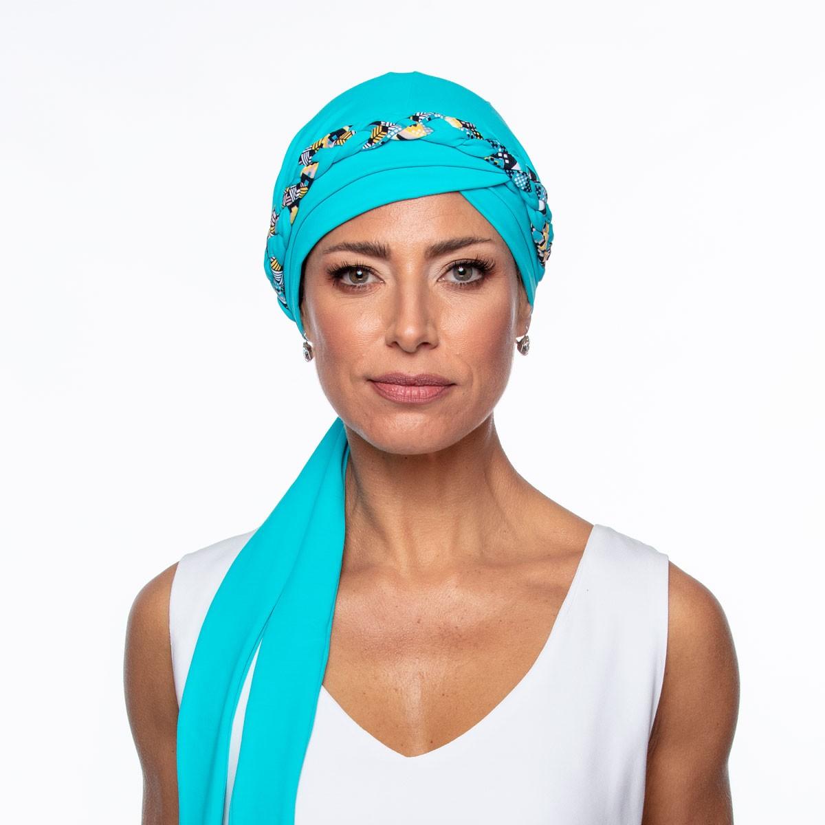 Turbante Feminino Trançado Giovanna Azul Celeste