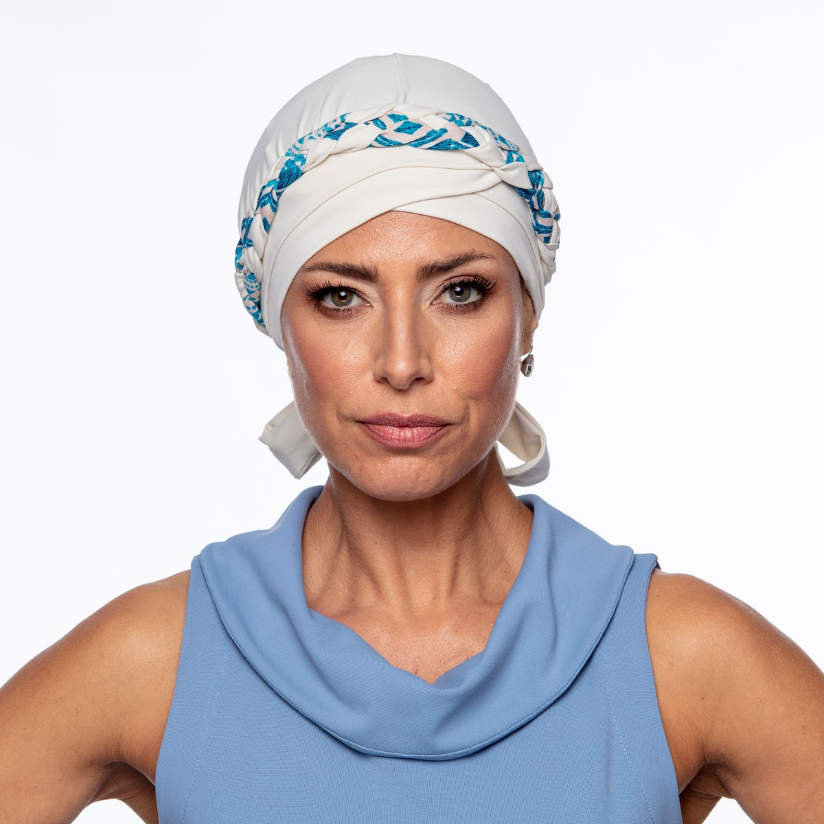 Turbante Feminino Trançado Giovanna Off White com Estampas
