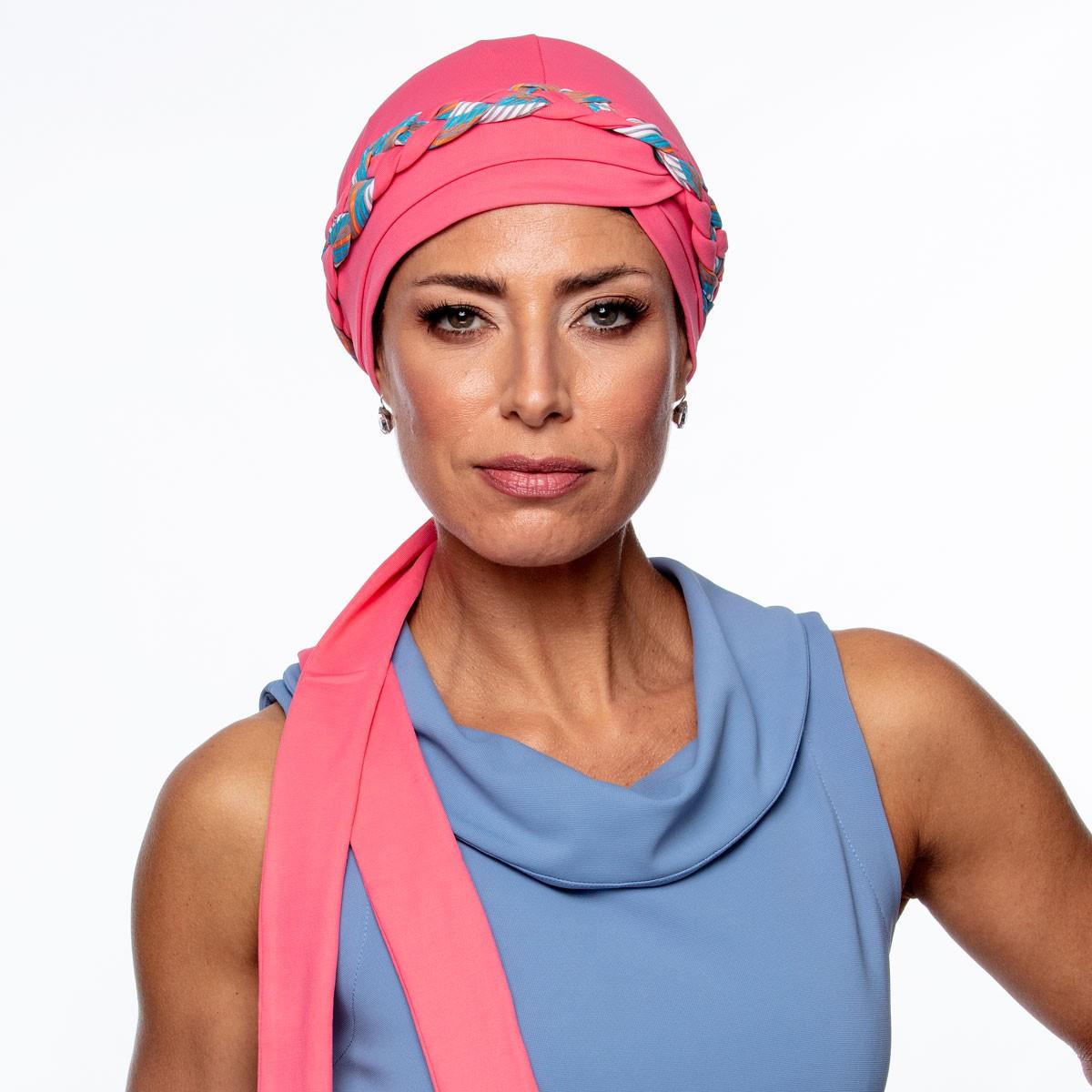 Turbante Feminino Trançado Giovanna Rosa Carmim com Estampas
