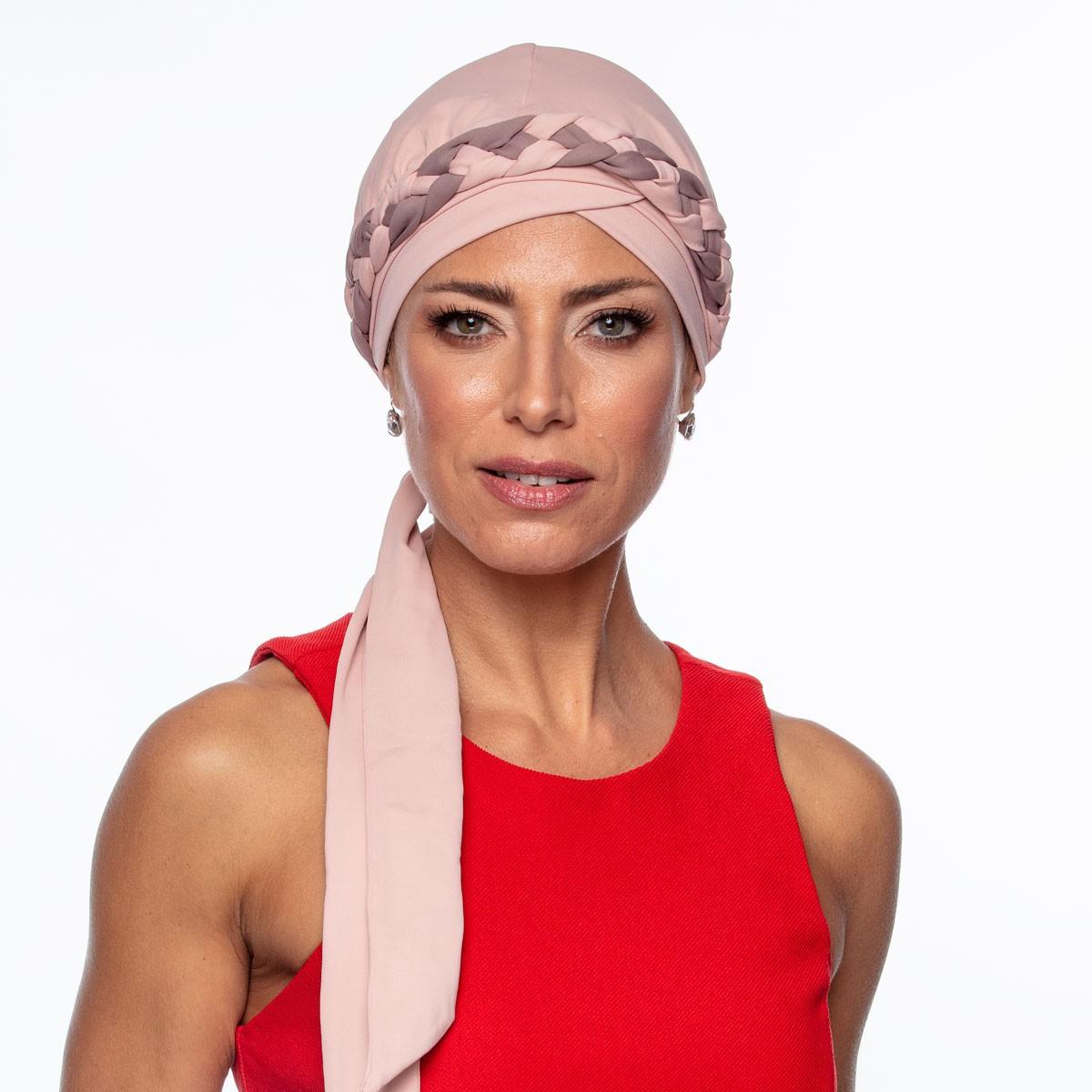 Turbante Feminino Trançado Giovanna Rosê com Capuccino
