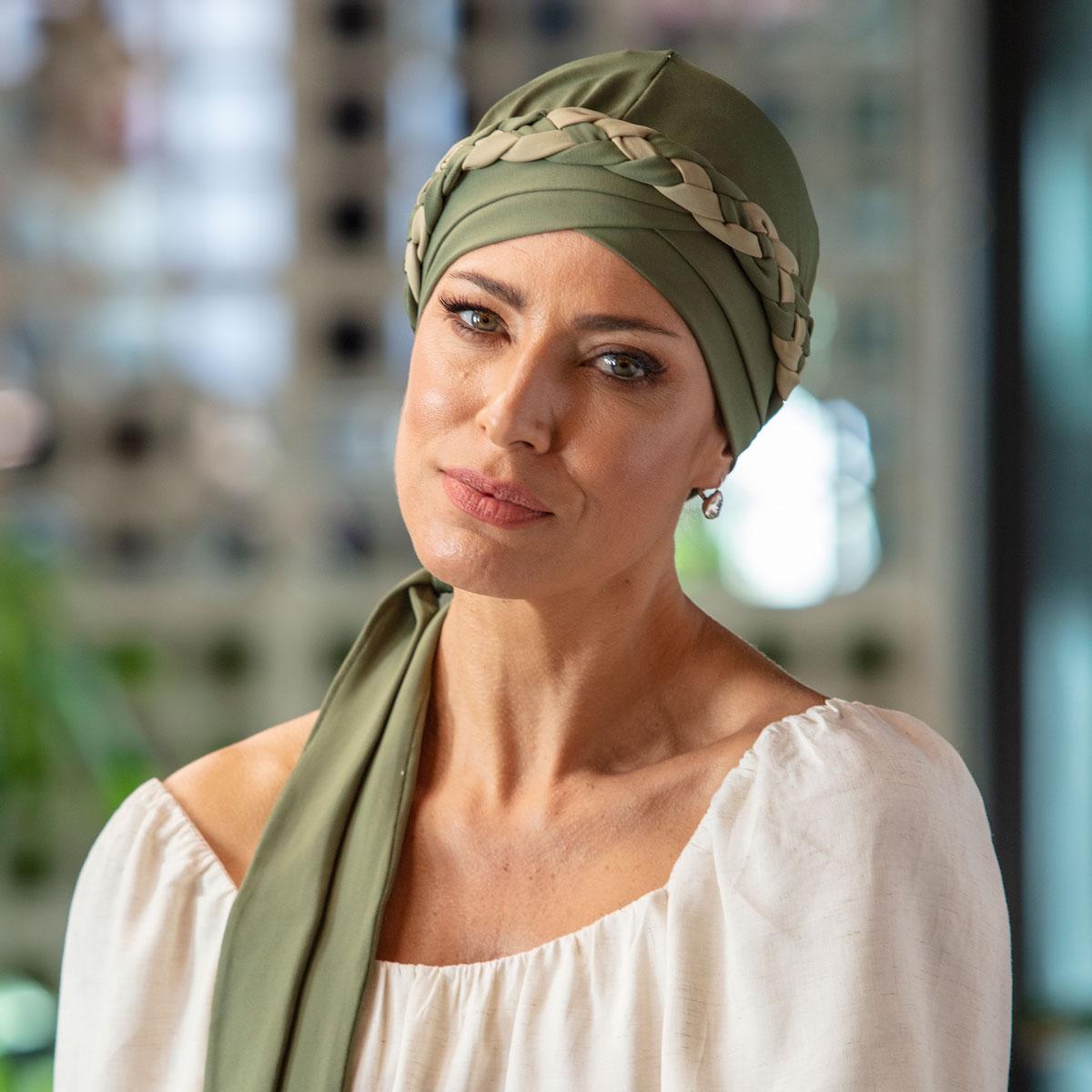 Turbante Feminino Trançado Giovanna Verde Oliva com Verde Claro