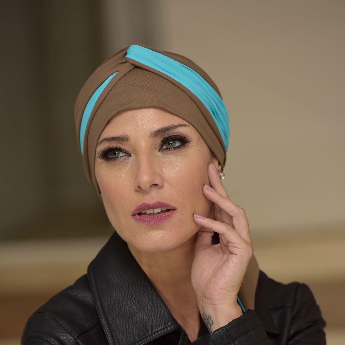 Turbante Feminino Dupla Face Vicky Castanho com Azul Celeste