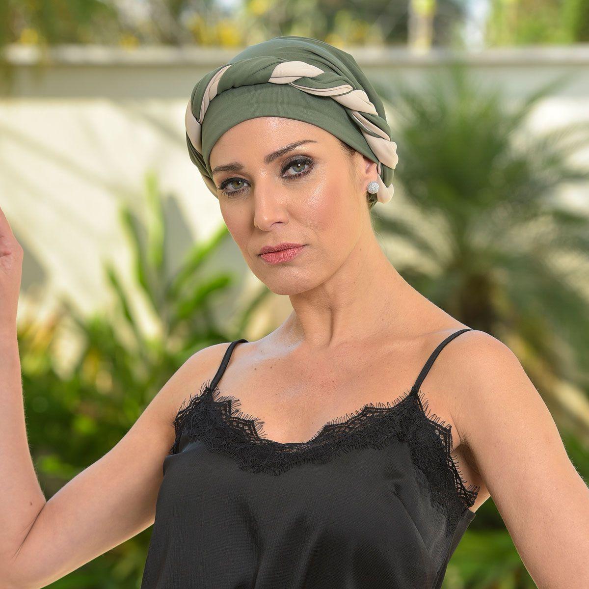 Turbante Feminino Dupla Face Vicky Verde Bandeira com Nude