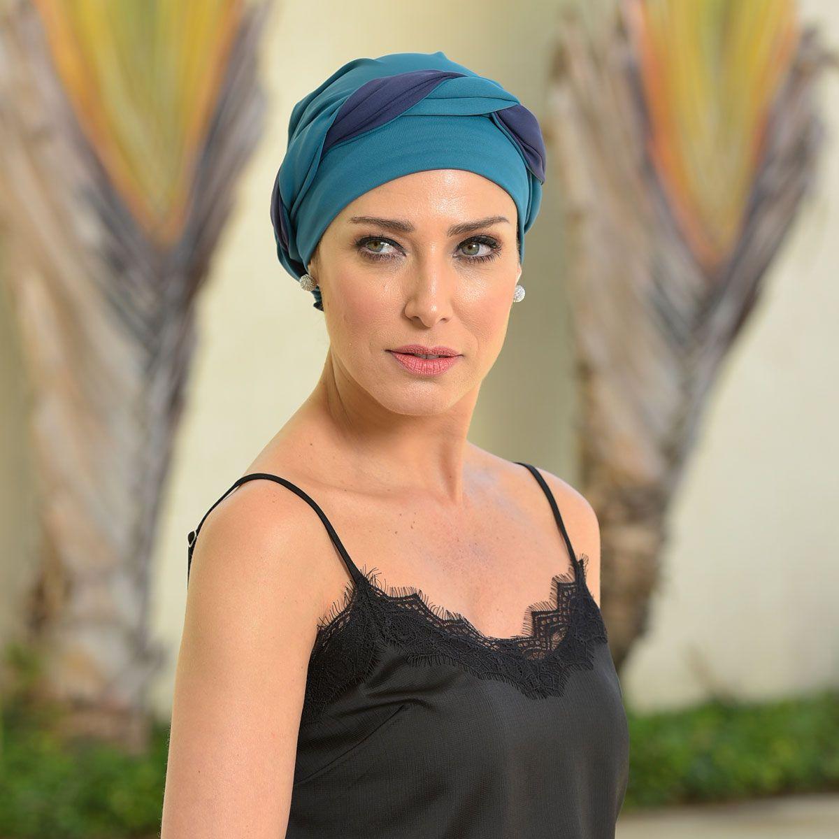 Turbante Feminino Dupla Face Vicky Verde Veleiro com Azul Marinho