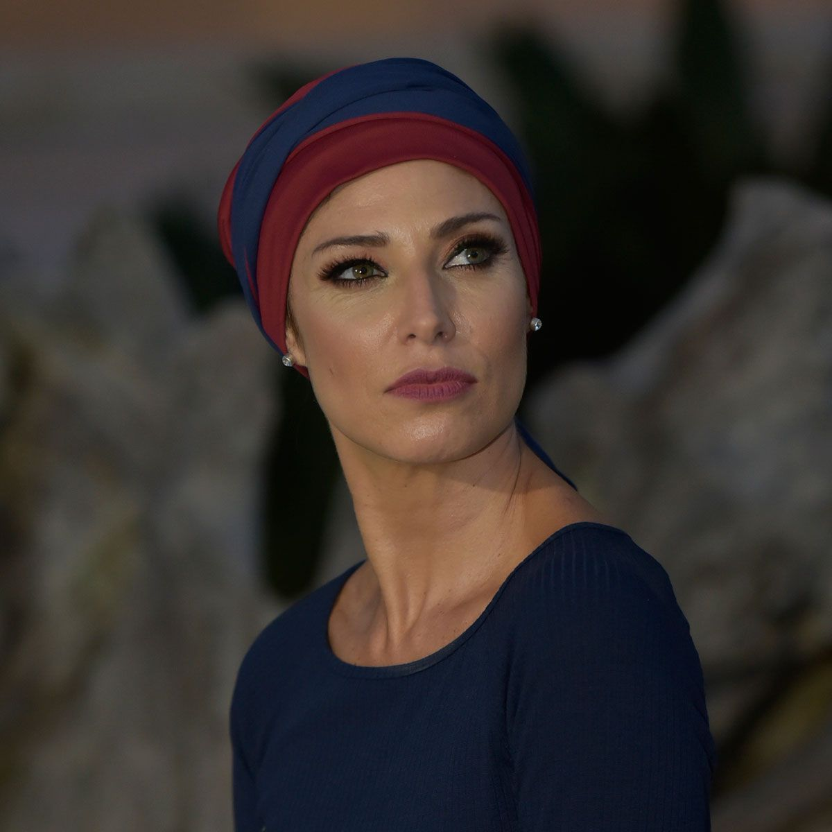 Turbante Feminino Vicky Vinho com Marinho