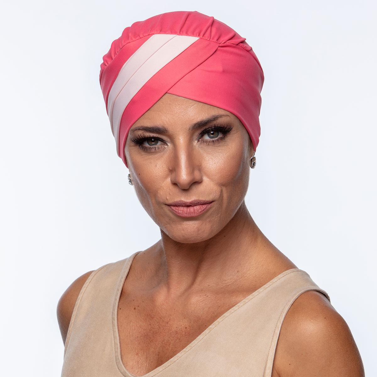 Turbante Feminino Gabi Rosa Carmim com Rosa Claro