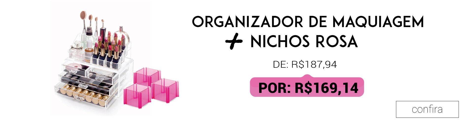 Organizador de Maquiagem e Nichos Rosa