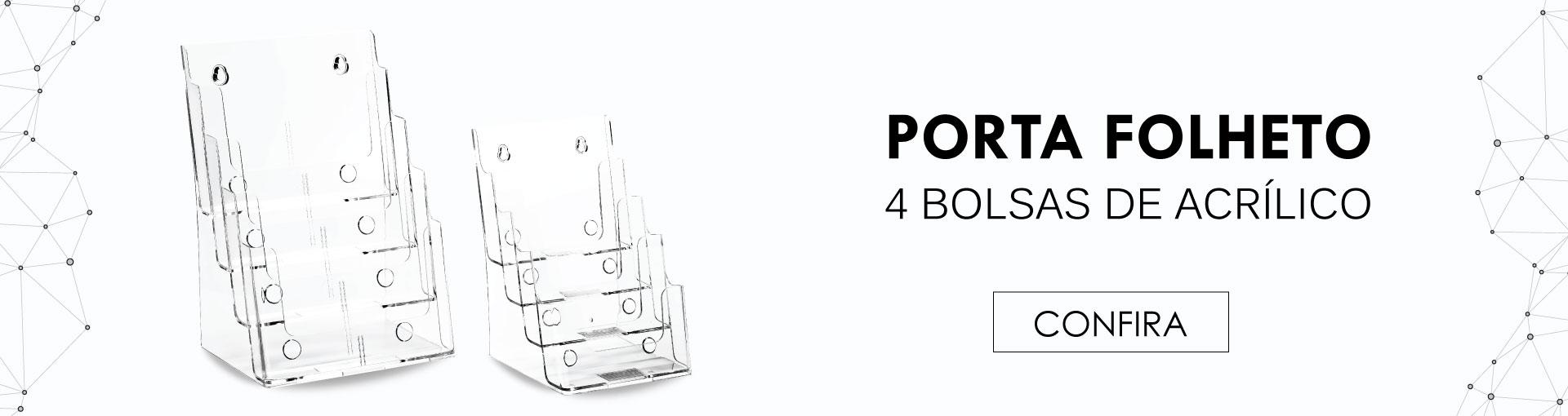 Porta Folheto Quadruplo
