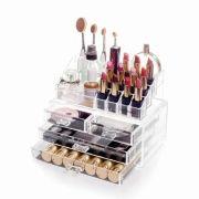 Organizador / Porta Maquiagem 4 Gavetas com Bandeja para Batom