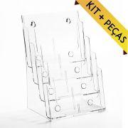 Porta Folheto Quádruplo A4 (30x21cm) - Kit 10 e 25 Peças